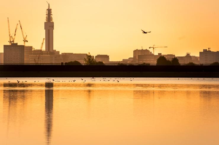 Birmingham Skyline reservoir sun lowdsc_6408